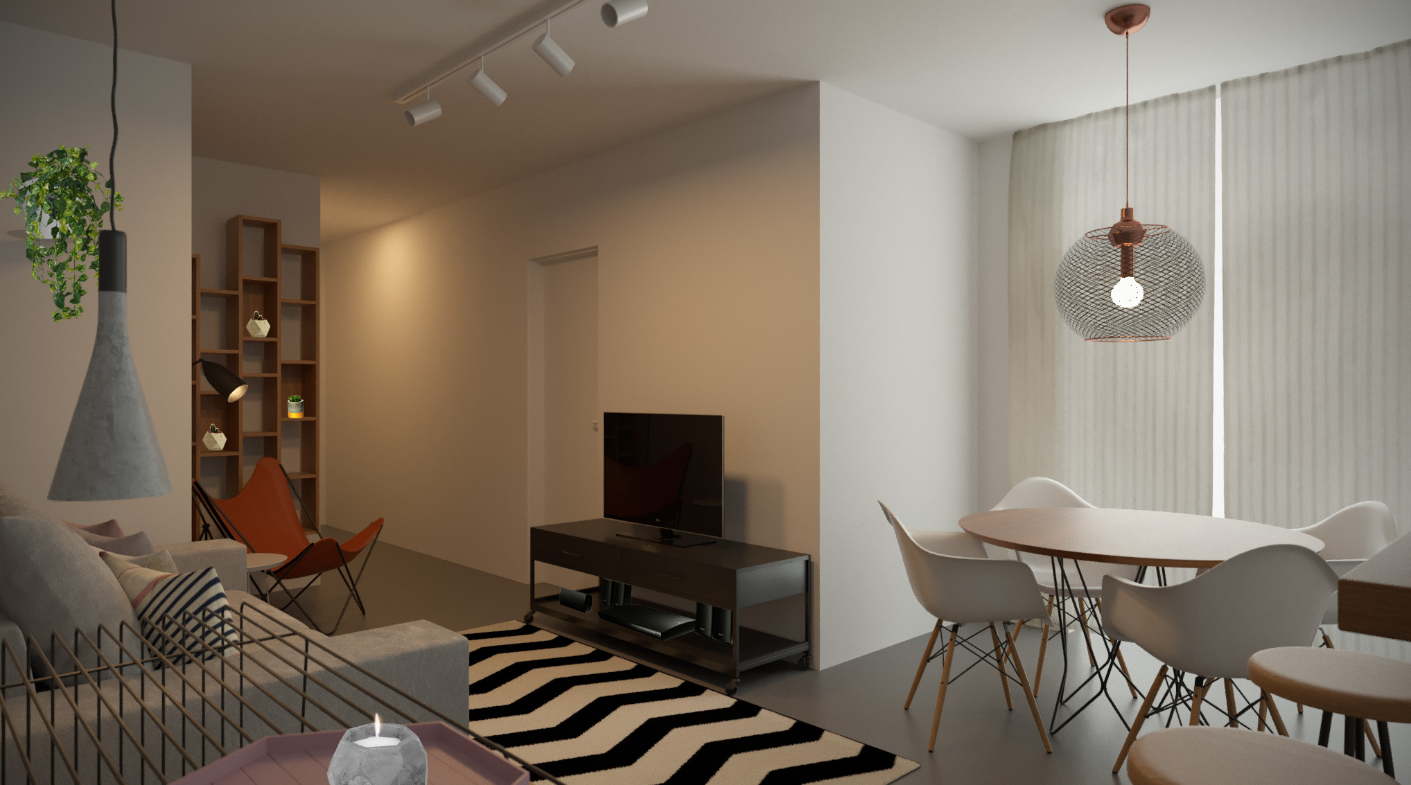 Sala Integrada estilo Minimalista