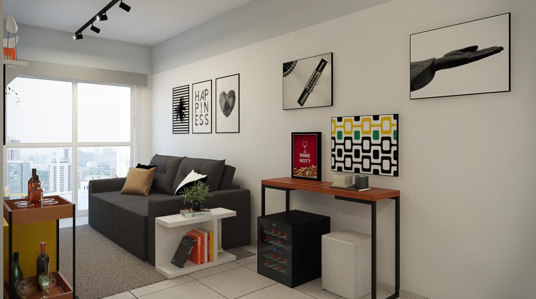 Sala Integrada estilo Moderno prático Minimalista