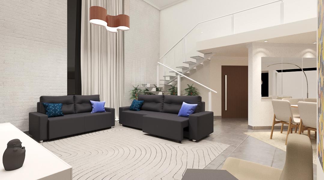 Sala Integrada estilo Aconchegante Rústico