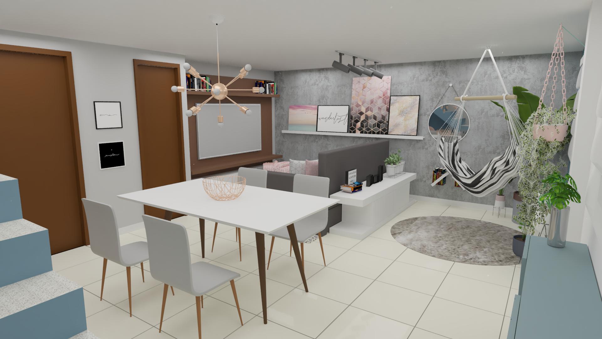Sala Integrada estilo Romântico Cool