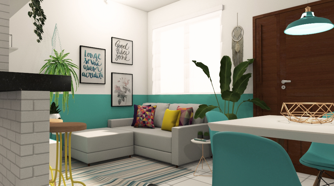 Sala Integrada estilo Romântico Minimalista