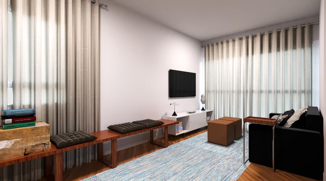 Sala Integrada estilo Aconchegante Minimalista