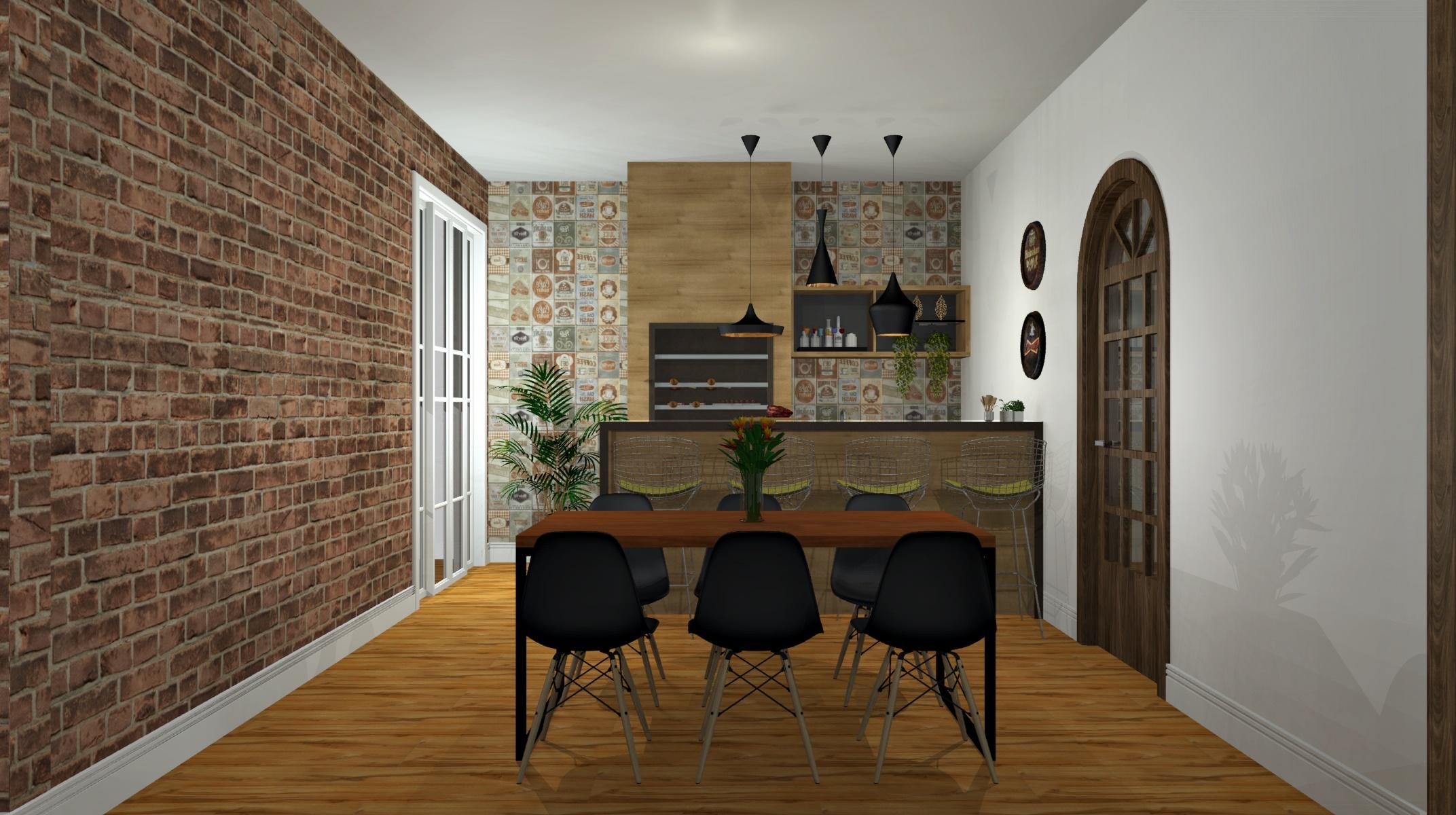 Sala de Jantar estilo Industrial Rústico