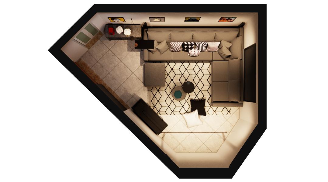 Sala de estar estilo Aconchegante Industrial