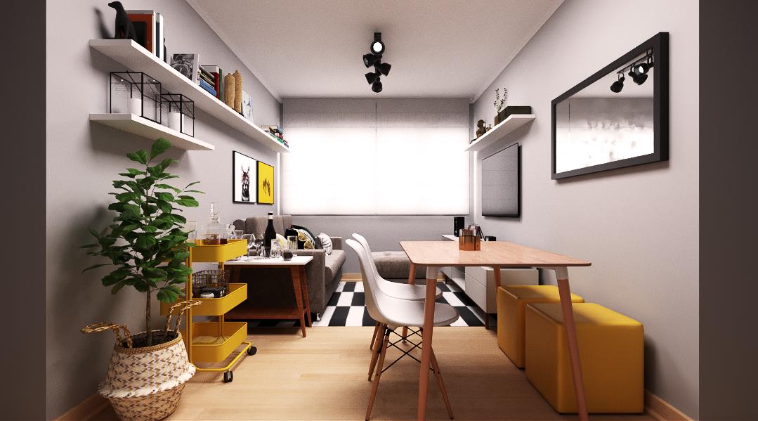 Sala Integrada estilo Moderno prático Cool
