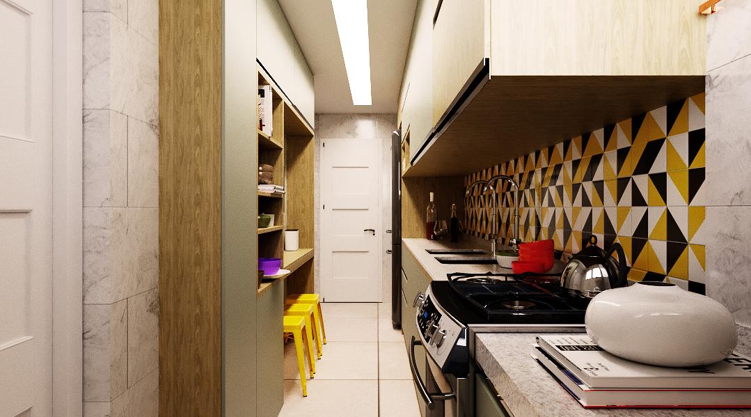 Cozinha estilo Divertido Romântico