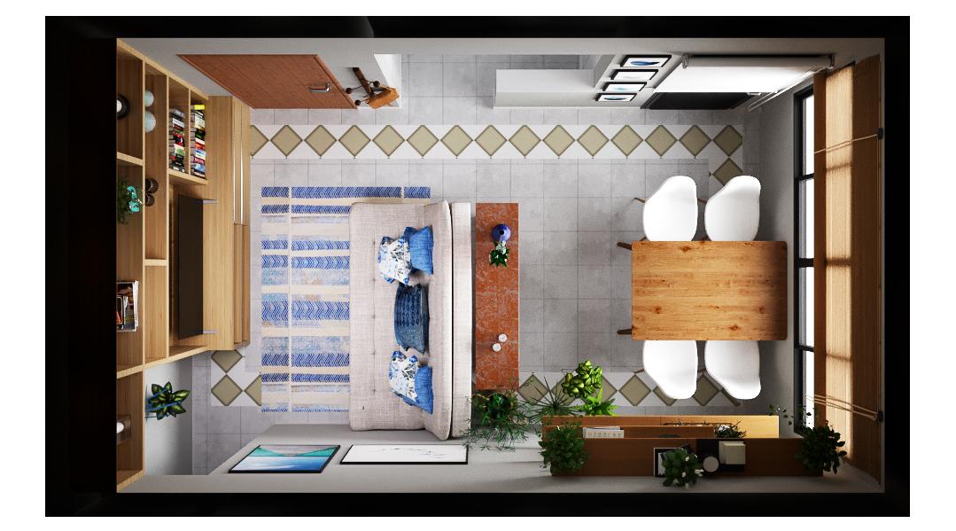 Sala Integrada estilo Divertido Romântico