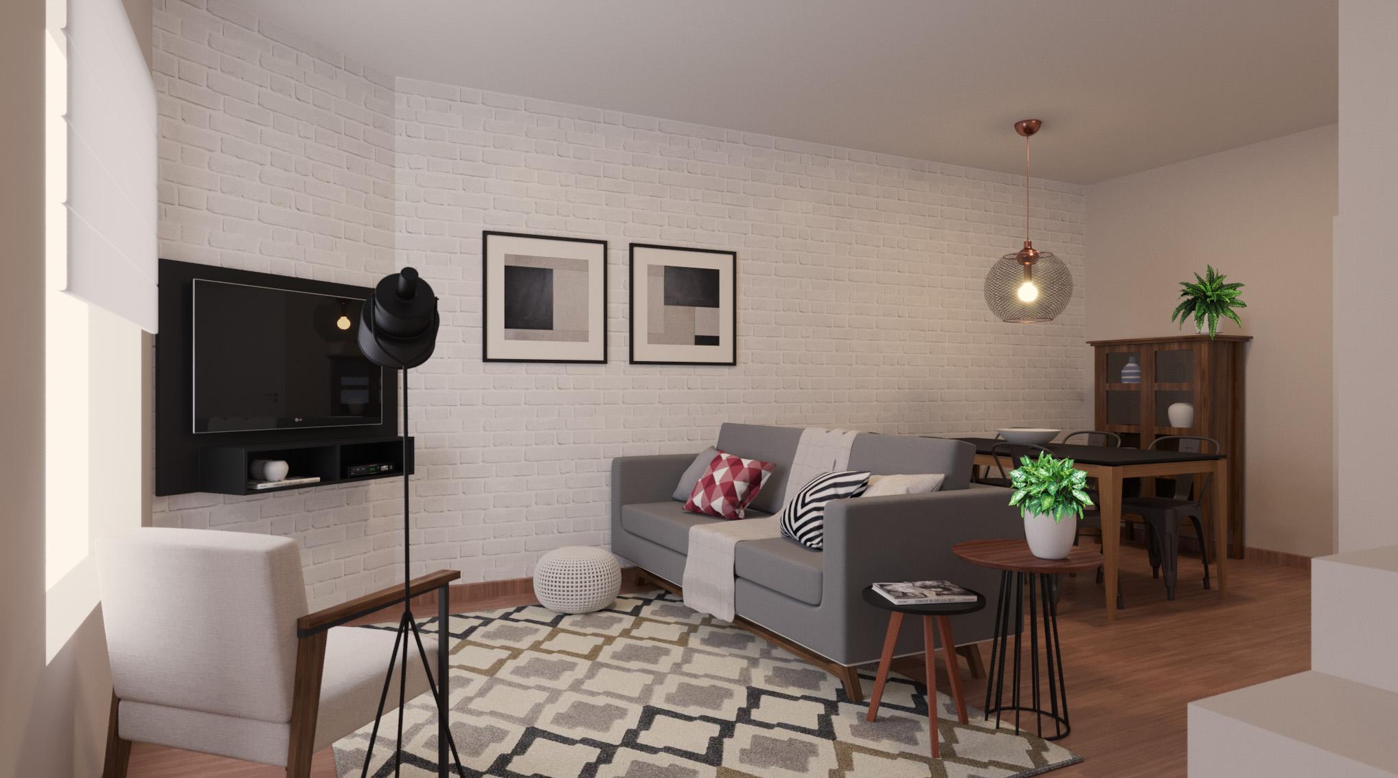 Sala Integrada estilo Moderno prático Industrial