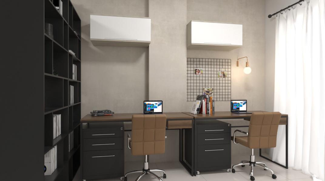 Sala Integrada estilo Industrial Minimalista