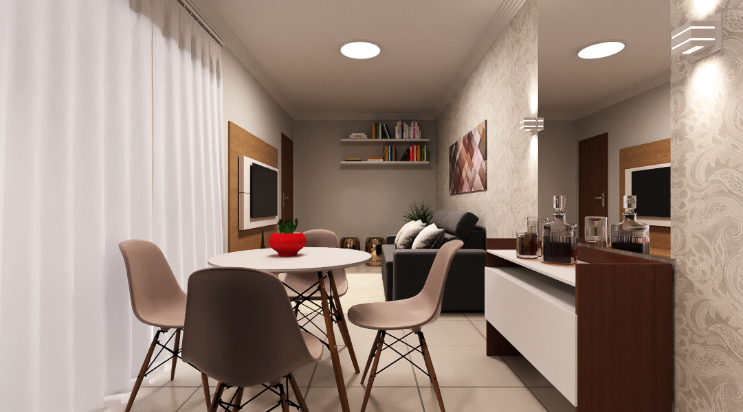 Sala Integrada estilo Moderno prático