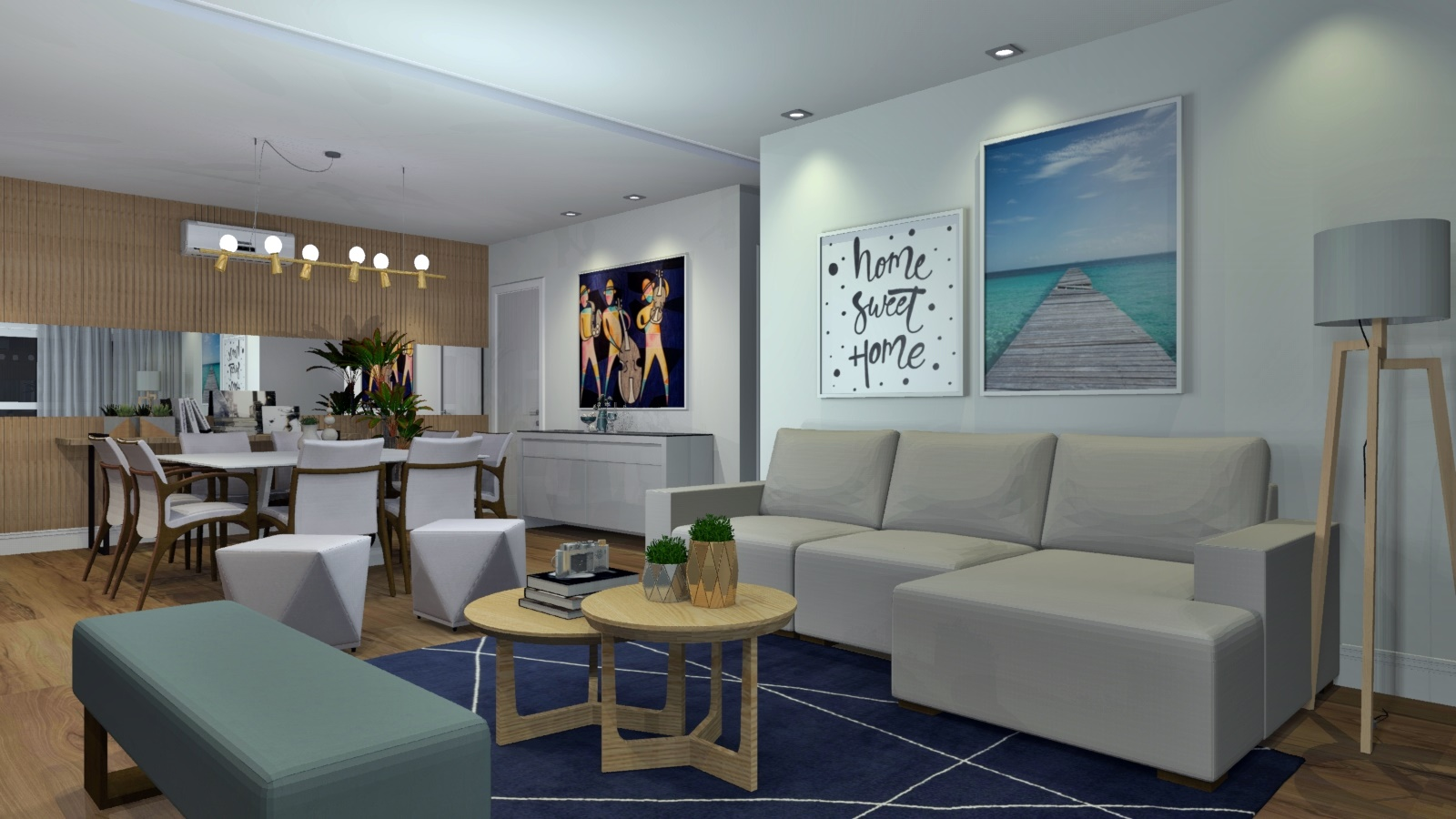 Sala de estar estilo Moderno sofisticado Rústico