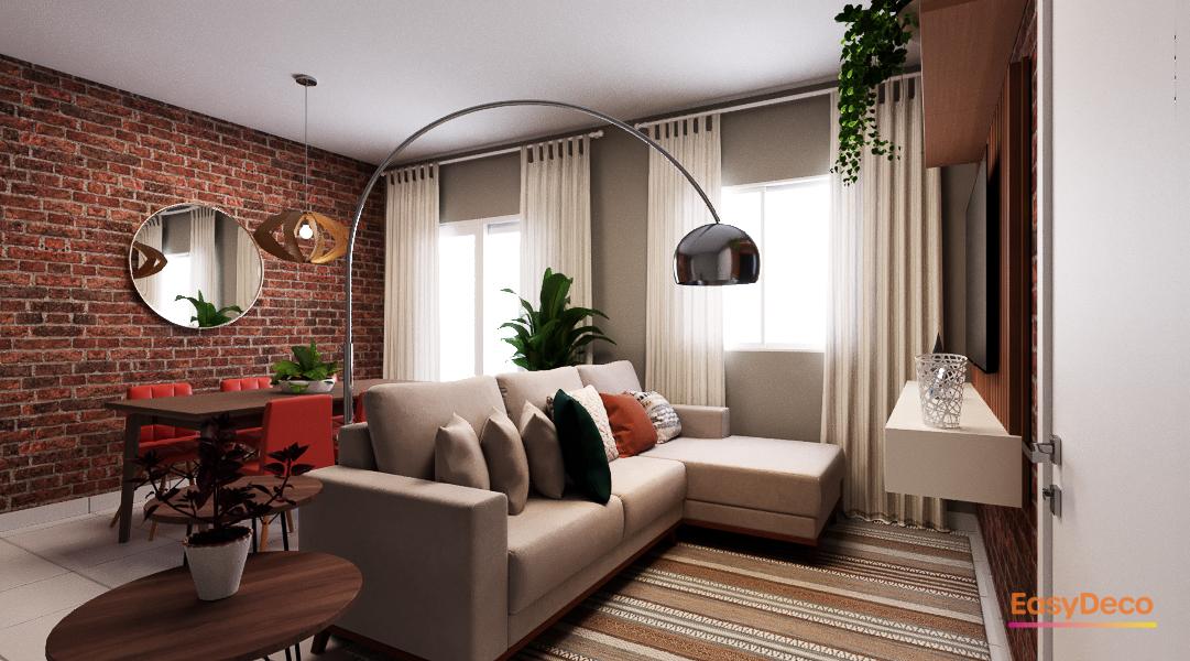 Sala Integrada estilo Rústico