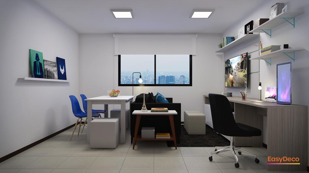 Sala Integrada estilo Aconchegante Cool