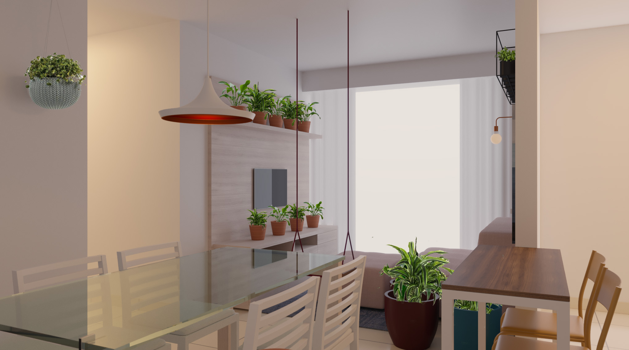 Sala Integrada estilo Divertido Rústico