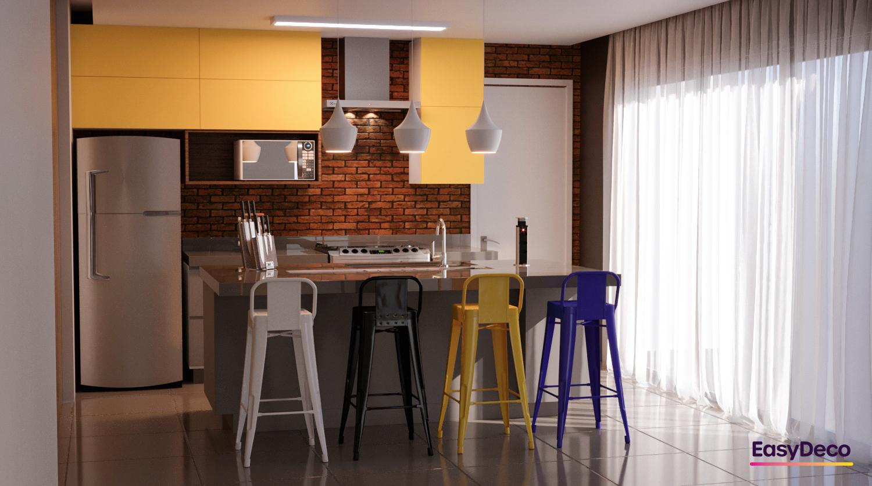 Sala Integrada estilo Divertido Moderno prático