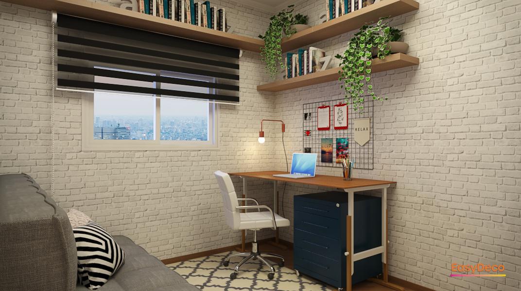 Quarto com Home Office Minimalista