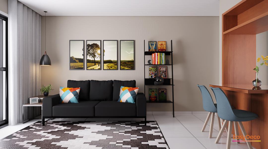 Sala minimalista cheia de cor