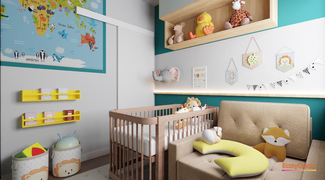 Decoração unissex para quarto de bebê